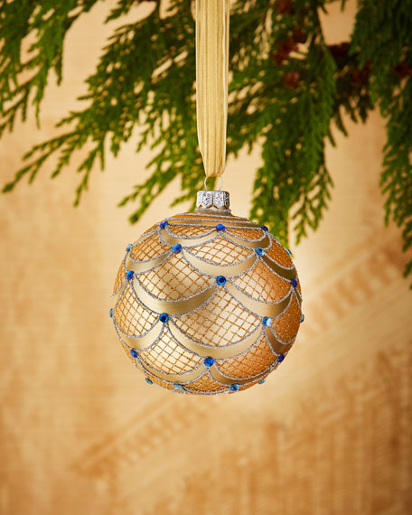 """Swag and Faux-Gem Ornament, 4"""""""
