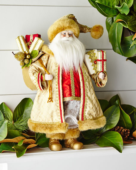 18 RESIN SANTA WITH GOLD DRE