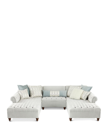 Image 3 of 3: Haute House Elyse Tufted Double Chaise Sectional