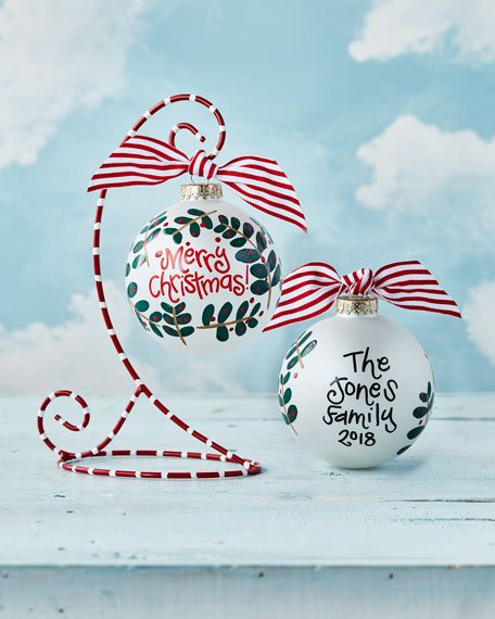 Merry Christmas Holly Branch Personalized Ornament with Stand