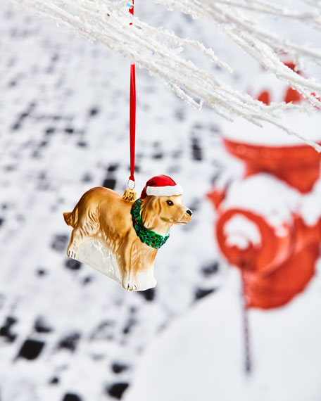 Dog with Santa Hat Ornament