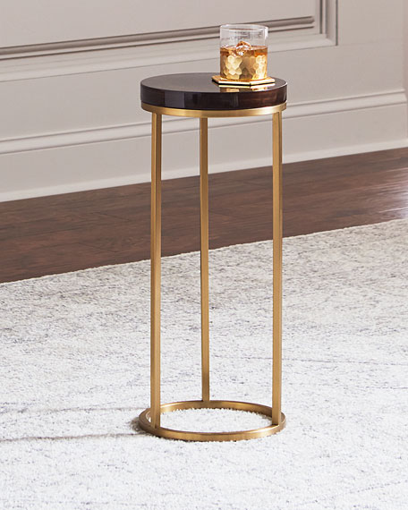 Interlude Home Letitia Round Brass Side Table, Brown/Gold