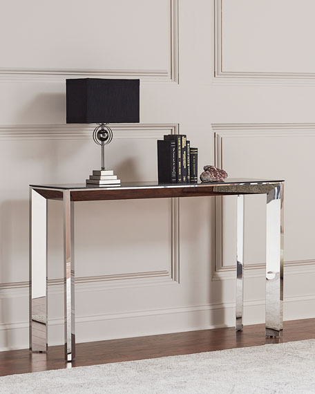 Interlude Home Bradshaw Polished Nickel Console Table, Smoke Gray/Silver