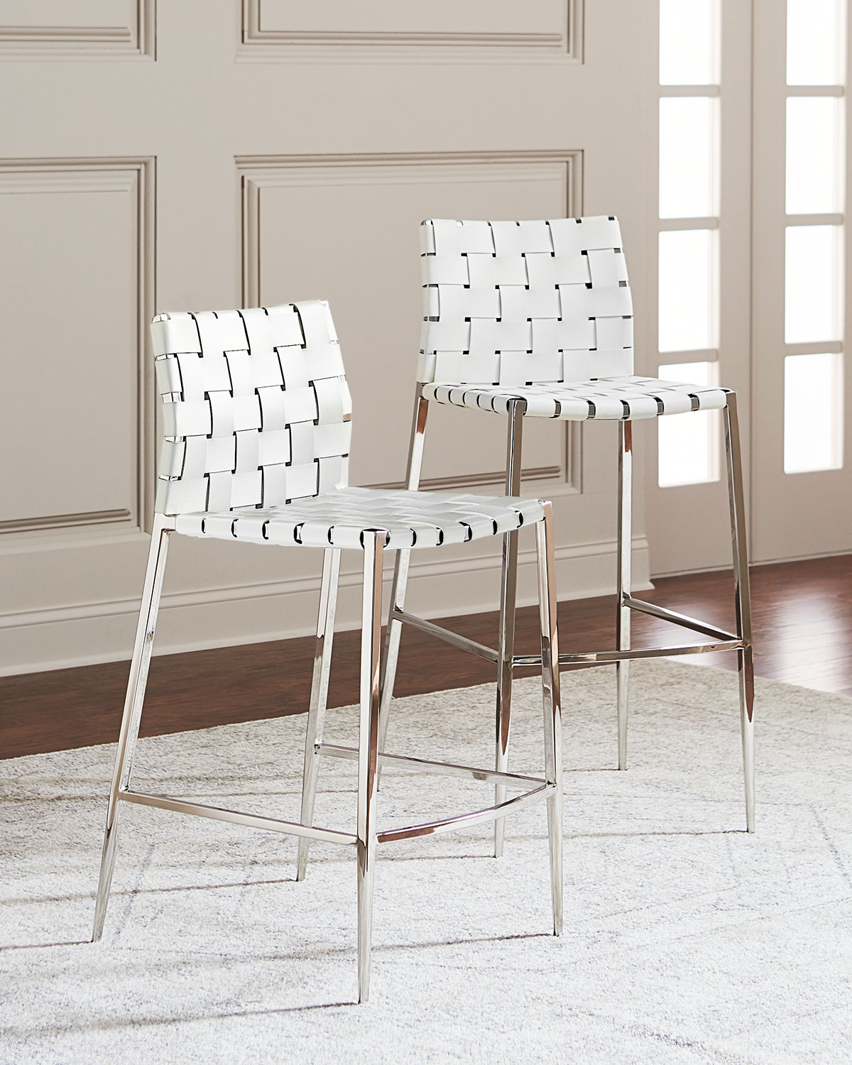 Interlude Home Kennedy Woven Leather Counter Stool White