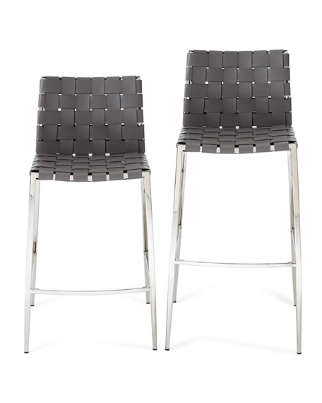 Interlude Home Kennedy Woven Leather Counter Stool, Gray