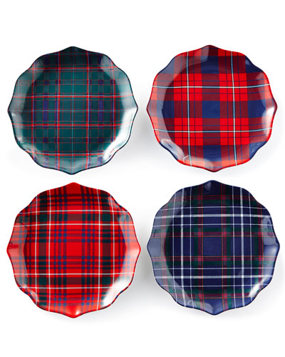New Traditional Tartan Salad/Dessert Plates, Set of 4