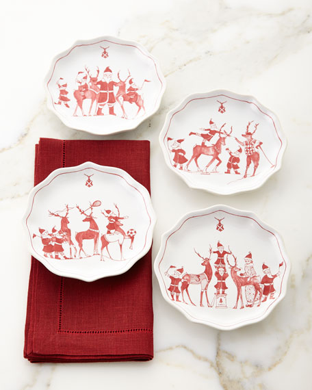 Juliska Country Estate Reindeer Games Tidbit Plates, Set
