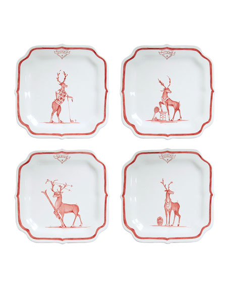 Country Estate Reindeer Games Solo Sports Party Plates, Set of 4