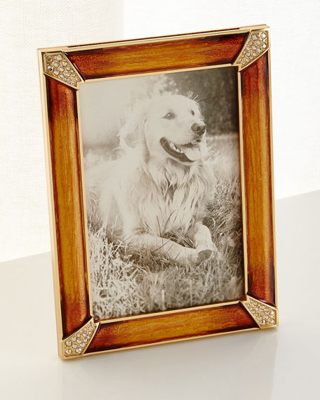 Jay Strongwater Leland Pave Corner Picture Frame, Topaz,
