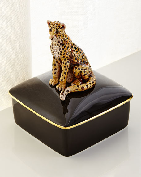 Jay Strongwater Leopard Porcelain Box