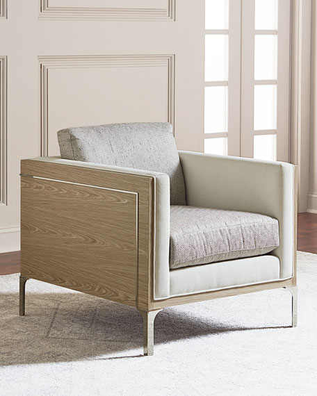 Image 1 of 3: Bernhardt Mead Stainless Steel Trim Accent Chair