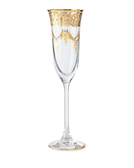 Exclusive Gold-Finish Flutes, Set of 4