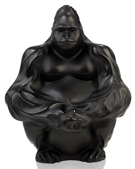 Lalique Crystal Gorilla Sculpture/Figurine, Black
