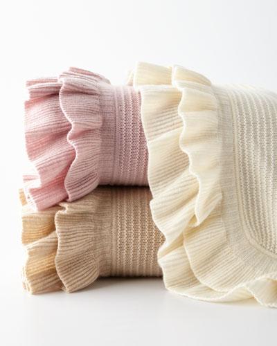 Rib-Knit Ruffle Throw Blanket