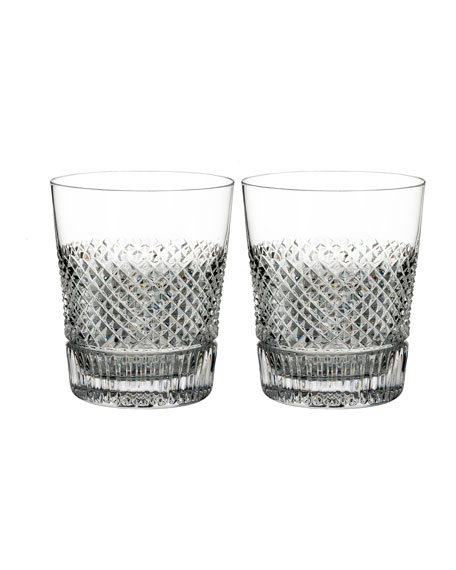 Waterford Crystal Diamond Line Double Old-Fashioned Glasses, Set of Two
