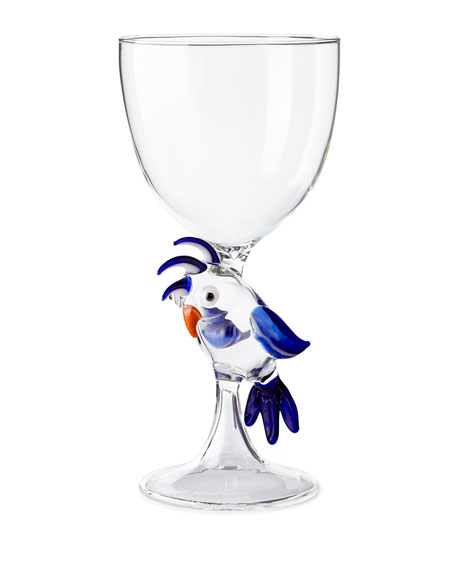 Massimo Lunardon Parrot Stem Glass, Blue and Matching