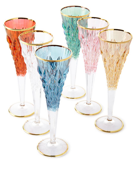 Same Decorazione Faceted Champagne Flutes, Set of 6
