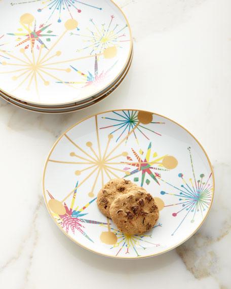 Holiday Art Dessert Plates, Set of Four