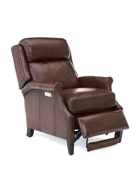 Image 4 of 5: Bernhardt Robin Leather Powered Recliner Chair