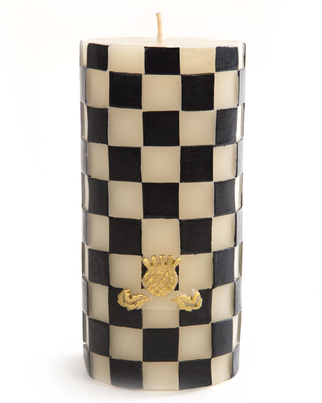 MacKenzie-Childs Check Pillar Candle, Black/White