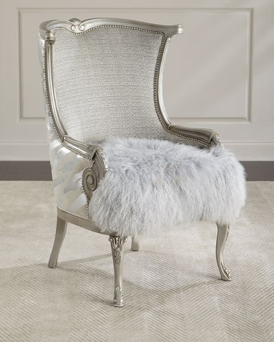 Cassius Hairhide & Shearling Wing Chair