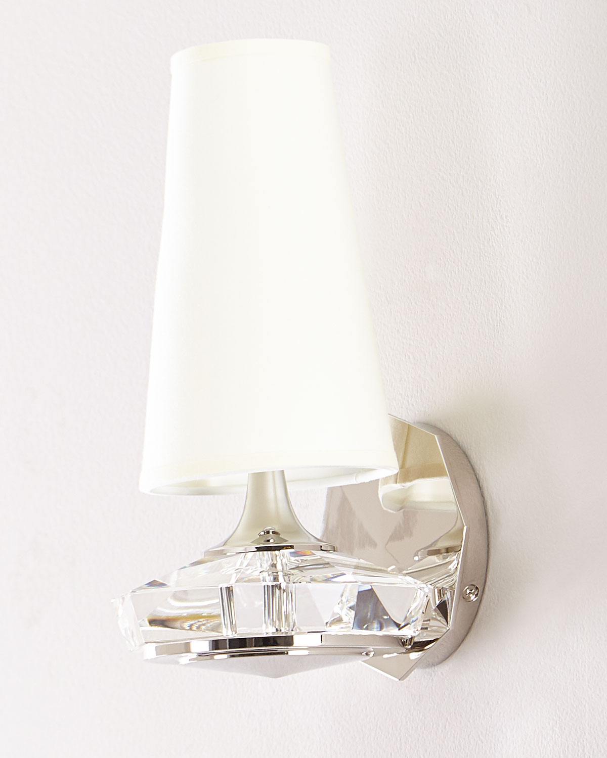 Thomas O'Brien Santo Small Faceted Wall Sconce in Polished Nickel