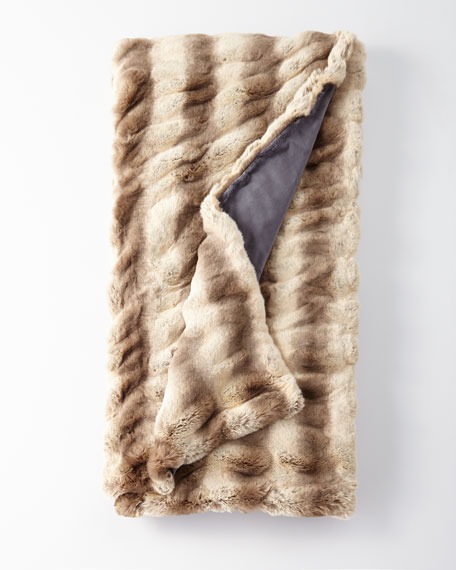 Fabulous Furs Faux-Fur Throw Blanket in Truffle Chinchilla