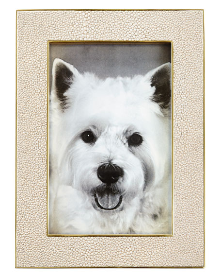 "Classic Faux-Shagreen 4"" x 6"" Frame, Wheat"