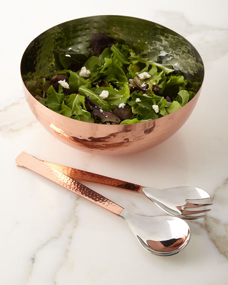 Copper Salad Bowl with Servers