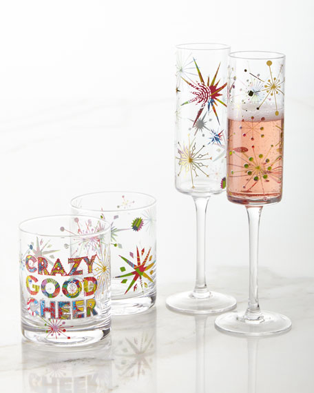 Crazy Good Cheer Double Old-Fashioned Glasses, Set of 4