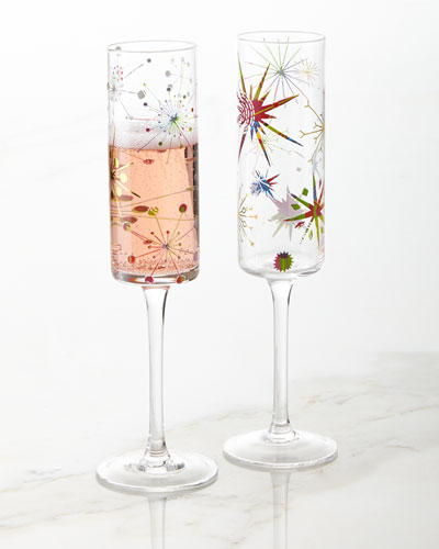 Crazy Good Cheer Champagne Flutes, Set of 4