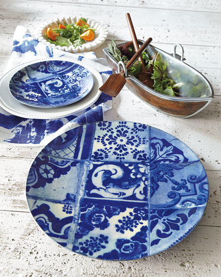 Image 2 of 2: Neiman Marcus Blue Tile Salad Plates, Set of 4