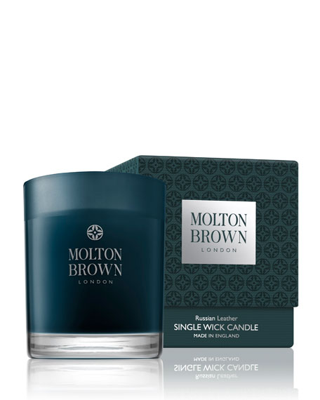 Molton Brown Russian Leather Single Wick Candle, 6.3 oz./ 179 g