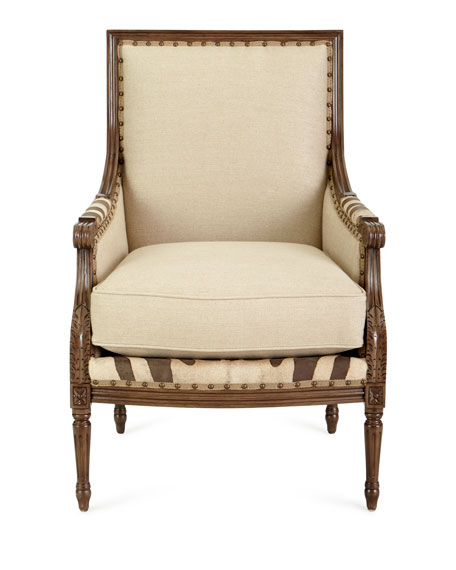 Annie Zebra Washed Leather/Linen Chair