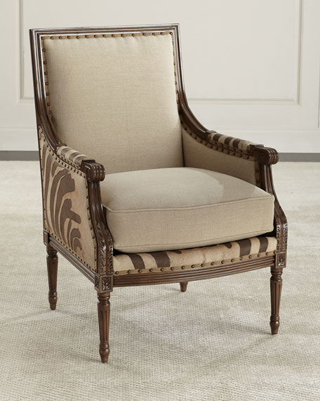 Massoud Annie Zebra Washed Leather/Linen Chair
