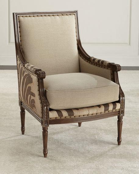 Charmant Massoud Annie Zebra Washed Leather/Linen Chair