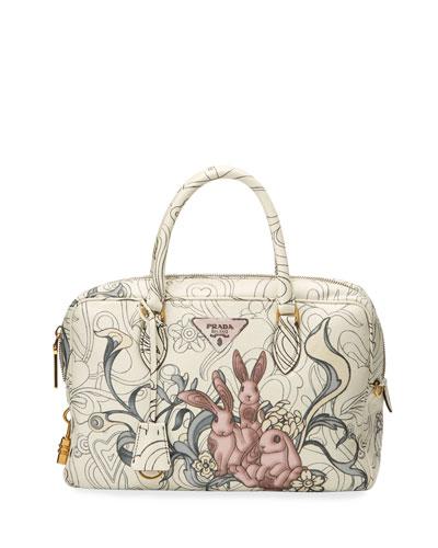 Glace Rabbit-Print Calf Duffel Bag