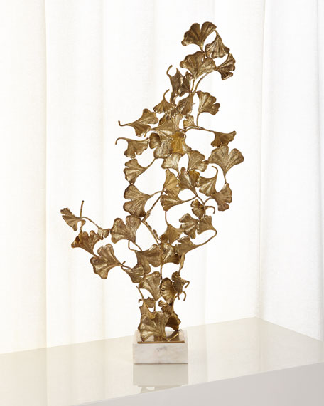 John-Richard Collection Ginkgo Leaves on White Marble