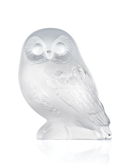 """Lalique """"Shivers"""" Crystal Owl Figure"""