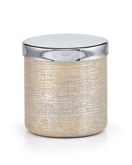 Woven Metallic Canister with Nickel Polished Lid