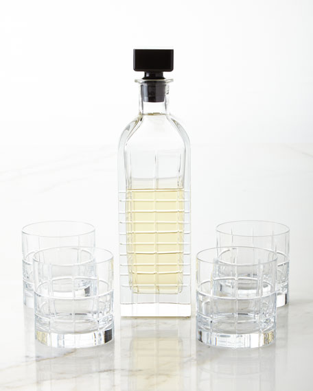 Orrefors Kosta Boda Street Decanter and Four Double Old-Fashioneds