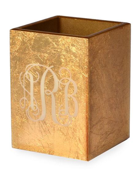 Mike & Ally Eos Monogram Wood Brush Holder, Gold