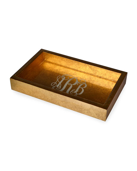 Mike & Ally Eos Monogram Small Wood Rectangle Tray, Gold