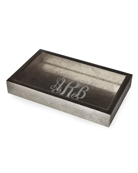 Mike & Ally Eos Monogram Small Wood Rectangle Tray, Silver