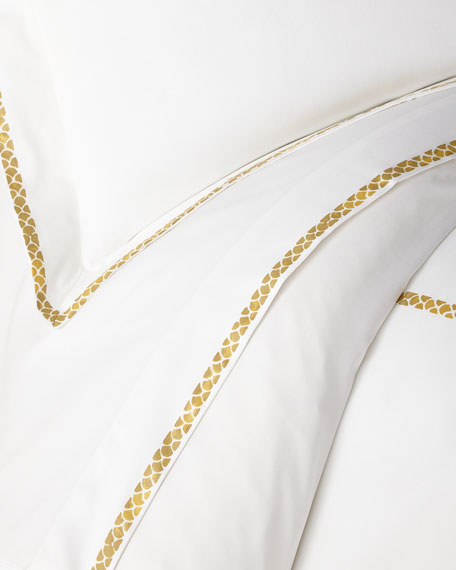 Roberto Cavalli New Gold Plain Queen Fitted Sheet, White