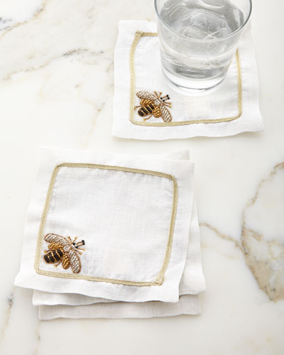 Sparkle Bee Cocktail Napkins  Set of 4