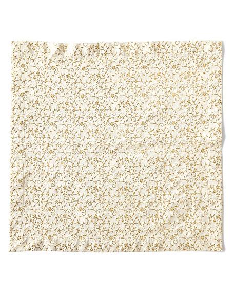 Nomi K Floral Textured Napkin, Gold