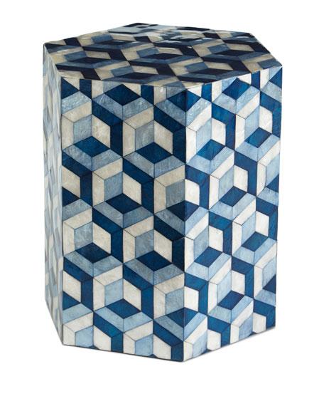 Hexagon Garden Seat, Blue/White