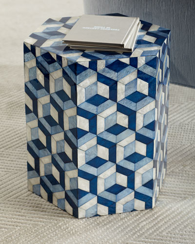 Hexagon Garden Seat, Blue/White