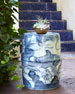 Image 1 of 2: Garden Stool, Blue/White